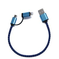 Wholesale 30cm in micro USB data cable high speed micro usb charger for iphone and android dual color braided cord wire