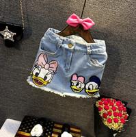 baby clothes bling - 2016 Bling Denim Skirt Cartoon Daisy Duck Sequins Children Baby Girls Dresses Skirt Child Dress Baby Clothing Blue K7798