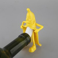 Wholesale 2016 Banana Shaped Man Opener Multifunction ABS Red Wine Soda Bottle Stopper Kitchen Bar Opener Tool