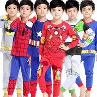 Wholesale children s pajamas summer boy pajamas cotton summer long spring and autumn suit manufacturers hot batch boys home clothes