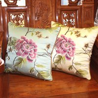 Wholesale Silk Filled Pillow Covers - Home Textile Products Chinese Style Peony Flower Embroidery New Silk Lmitation Pillow Cushion Cover No Filling Material Two Colors