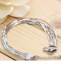 Wholesale Design the Unique Charm of Fashion High Quality s925 Pure Silver Bracelet Five line Eight lines Snake Skeleton Bracelet