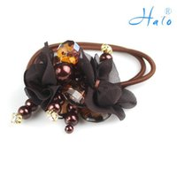 beaded ponytail - Fashion Beaded Handmade Ponytail Holder Flower Elastic Stretchy Flower Hair Pins HP0014