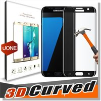 Wholesale Samsung S7 Edge Screen Protector D Curved S6 Edge Plus tempered glass Full Cover Glass Film mm H Screen Protection With Retail Package