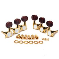 Wholesale 1set L3R Enclosed Gold Tuning Pegs Machine Head Tuners w Amber brown Plastic Buttons for Acoustic Guitar