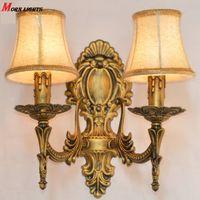 venda por atacado bedside lamp-Frete grátis antigo muro de bronze sconce quarto de moda Luz lâmpada de cabeceira antiga Wall Light Modern