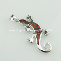 australian ladies - 20324 Sterling Silver Lady Animal Lizard Gecko Red Lucky Australian Opal Pendant
