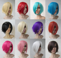 Wholesale cheap Heat resistant Short Flip Shaggy base Cosplay Full Wig Color