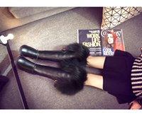 australia luxury boots - Discount Luxury Australia Original Brand Women s Knee Boots Warm Fox Wool Genuine Leather Snow Boots Thigh High Boots Retail Box