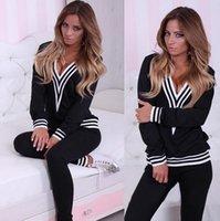 Wholesale New Women V Neck Cotton Tracksuit Brand Sport Suit Hoodies Sweatshirt Pant Jogging Femme Sportswear High Quality