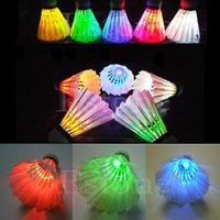 Wholesale New Lighting Badminton Birdies Dark Night Colorful LED Shuttlecock Hot Sale