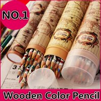 Wholesale 36 Set High Quality Wooden Color Pencil Office Drawing Pencil Children Painting Pens Environment Friendly Water Coloured Pencil