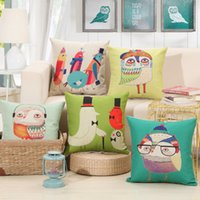 Wholesale 2016 Cartoon Birds Pillow Case Cute Owl Pillowcase X45CM Square Animal Pillow Cover For Living Room