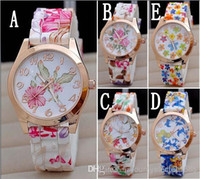 beautiful digital watches - Hot Silicon Strap Beautiful Rose Flower Blue and white porcelain Super Design Geneva Wrist Watch for Wome students Girls