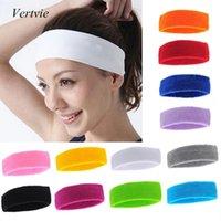 Wholesale Vertvie Pure Cotton Lady Girls Sports Sweatband Headband Sweat Absorbing Fashion Sports Supply Hair Accessory PC Hot Sale