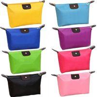 Monederos de las señoras de color beige Baratos-10 colores de alta calidad señora maquillaje bolsa cosmética componen bolsa de embrague colgantes artículos de tocador viaje organizador joyería bolso casual