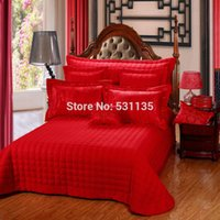 beautiful collection cottons - luxury wedding silk satin cotton jacquard bedding collection beautiful peonies print red linens Queen King size bedding sets