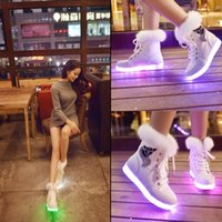 Wholesale Colorful Winter Boots Women - NEW flat casual shoes woman Luminous LED light shoe fluorescent lamp LED colorful snow boots rabbit hair USB charging