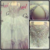 achat en gros de filles organza lacets-Best Selling 2016 robe boule blanche organza filles robe de robe de soirée