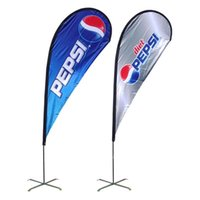 Wholesale 90x200cm Outdoor Flags Banenr Single Side Beach Flags Teardrop Banners Advertisement Flags Banner with Cross Feet Water Bag POS