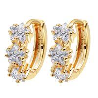 baby earrings white gold - 10pcs K Yellow Gold Plated Clear Cubic Zircon CZ Hoop Earrings Star Jewelry For Women Children Girls Baby Kids A1880