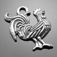 antique rooster - 80pcs mm colors Antique Silver Antique Bronze Rooster Charms