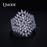 artistic diamond rings - UMODE Phoebe Series Artistic Cluster Flower Micro CZ Diamond Pave Band Ring White Gold Plated Jewelry For Women UR0179B