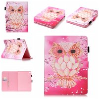 Wholesale Embossing pink owl wallet and holder leather case bag for ipad air1