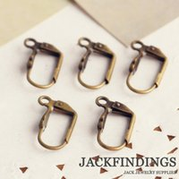 antique copper hoop earrings - 20pcs mm Antique Bronze Plated Copper Ear Hooks Hoop Earring Settings Bases Studs Earring Wires
