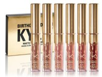 Wholesale 6pcs set Luxury Kylie Jenner Limited Birthday Edition Kylie Matte liquid Lipstick mini gold color package kylie lip kit DHL Free