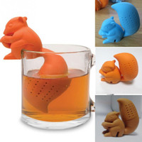 applied silicone - 2016 New Cute Squirrel Shape silicone Tea Infuser Loose Leaf Strainer Bag Mug Filter Friends Applied Hot sale free ship