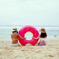Wholesale Inflatable Donut Floating Pool Toy Colors cm Summer Water Toy Swimming Float Inflatable Swimming Ring Life buoy Beach Toys
