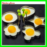 Wholesale 304 Stainless Steel Kitchen Cooking Egg Fryer Molds Egg Pancake Rings Fried Tools With Round Star Flower Heart Mickey Shape