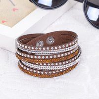 Wholesale Rhinestone Bling Double Leather Wristband Fashion Slake Deluxe Multi Color Crystal Wrap Bracelets For Women