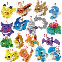 Wholesale Free DHL Poke go Pikachu Minifigure DIY LNO Building Blocks style gengar Lapras Charmander Bulbasaur Jeni turtle Diamond Brick Toys B
