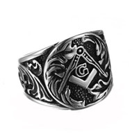 Wholesale Stainless Steel Freemason Masonic Fashion Silver Black Design Ring for Men Avivahc