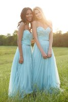 aqua tulle - Aqua Green Lace Tulle Sheer Bridesmaid Dresses Cheap Sweetheart Ruched Bodice Maid of Honor Dress