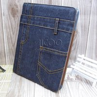 air china credit card - For Samsung tab N8000 N5100 P3100 P3200 OPP BAG Denim jean Wallet Leather case Stand with credit Card slot cowboy skin cover with kick stand
