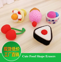 Wholesale cute korean design food shape pencil correction erasers kit kit including ice cream cherry blister packing