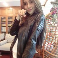 Wholesale 2016 New Fashion Autumn Winter Women Brand Faux Soft Leather Jackets Pu Black Zippers Long Sleeve Motorcycle Coat