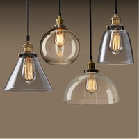 Wholesale New Vintage Clear Glass Pendant Light Copper Hanging Lamps E27 V Light Bulbs For Home Decor Restaurant Luminarias Abajour
