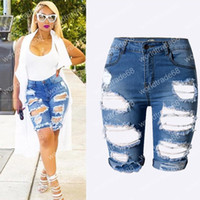 Wholesale Plus size Women s Sexy Ripped Hole Washed Distressed Midi Short Jeans Hight Waist Slim Stretchy Denim Shorts
