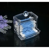 Wholesale 1 Storage Box Clear Acrylic Q tip Holder Box Cotton Swabs Stick Storage Box Makeup Case Storage Box Easily Cleaned