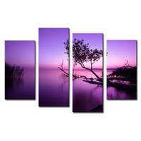 abstract wall hanging - 4 Pieces Purple Lake Canvas Print Panels Landscape Paintings on Canvas wiht Wooden Framed Wall Art Ready to Hang for Home Wall