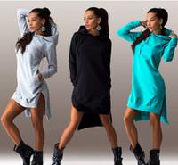 Wholesale Irregular Hem Hooded Long Sleeved Sweatshirt Dress Loose Large Size Dress Sweaters Hooded Side Slit Dress