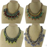 Wholesale New Arrival Styles Handmade Famous Lux Turquoise Beaded Collar Necklaces Rope Statement Necklace For Women Girl Gift