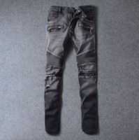 acid wash jeans - 2016 NEW Balmain brand Luxury Designer Knee Hole Gray Skinny Jeans Pants Men Black Biker Ripped Jeans Destroyed Motorbike Jeans Acid Wash