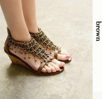 beaded zip ties - Summer new women s bohemian beaded After the slope with zipper sandals Rome SIZE EUR