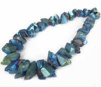 aqua spikes - 15 Bigger Size Titanium Aqua Crystal Quartz Point Pendant Healing Gems stone Spikes Drilled Briolettes Rock Women Necklace Jewelry