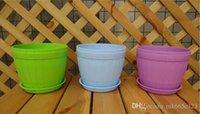 Wholesale City Colors Round Plastic Plant Pot Planter Flower Pot with Pallet Tray Saucer for Decoration of Home Office Desk Garden Flower Shop